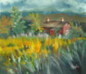 Red Barn with Goldenrod