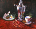Coffee Urn, Cup, and Pearls