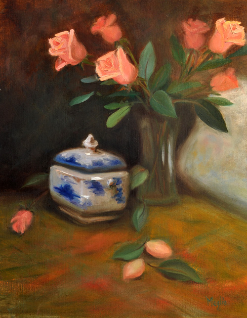 Still Life with Peach Roses