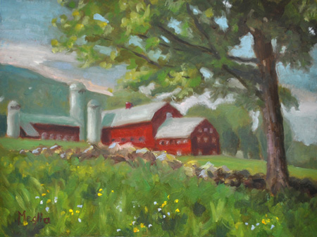Red Barns in a Field